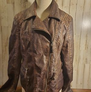 Womans bke faux leather jacket